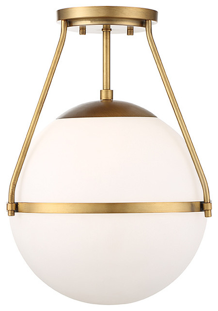 1-Light Semi-Flush Mount, Natural Brass