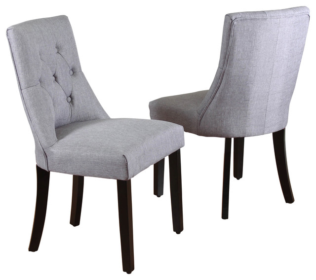 Maxon Tufted-Linen Dining Chairs, Set Of 2, Gray.