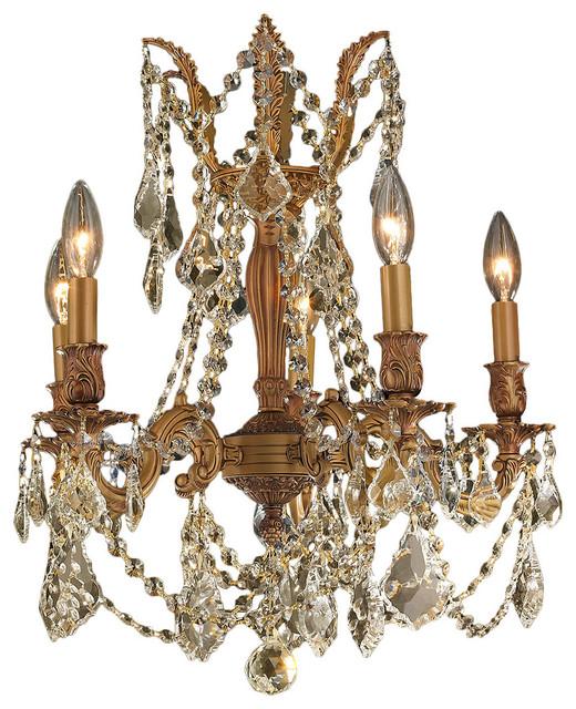 Italian Light French Gold Crystal Chandelier Golden Teak
