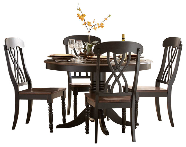 Round Pedestal Dining Table In Black And Cherry Dining Tables