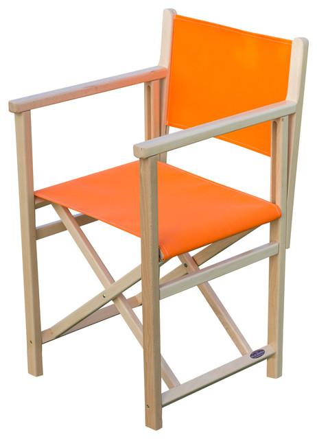Menorquina C Folding Garden Chair, Orange, Natural Frame