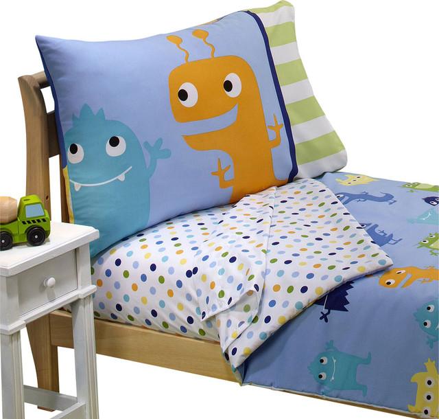 Delightful Monster Toddler Bedding Set Frightful Friends Bed
