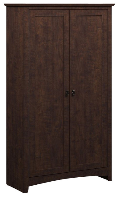 Bush - Bush Buena Vista 2 Door Tall Storage Cabinet in Madison Cherry - View in Your Room! | Houzz