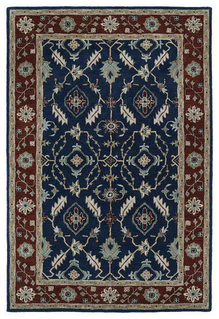 Kaleen Hand Tufted Middleton Navy Wool Rug Traditional