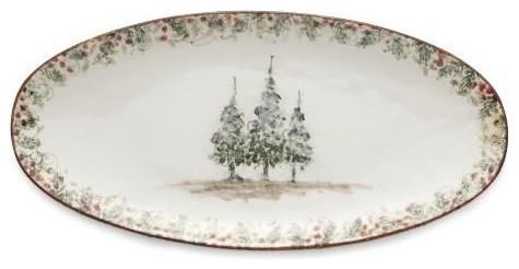 Arte Italica Christmas Natale Long Oval Platter - ChristmasTablescapeDecor.com