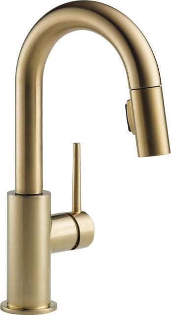 Delta Trinsic Single Handle Pull-Down Bar / Prep Faucet, Champagne Bronze