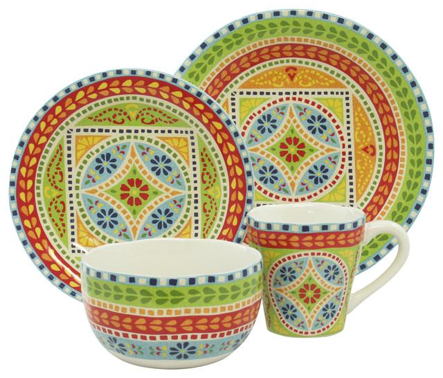 New Delhi Green 16-Piece Dinnerware Set eclectic-dinnerware-sets  sc 1 st  Houzz & New Delhi Green 16-Piece Dinnerware Set - Eclectic - Dinnerware Sets ...
