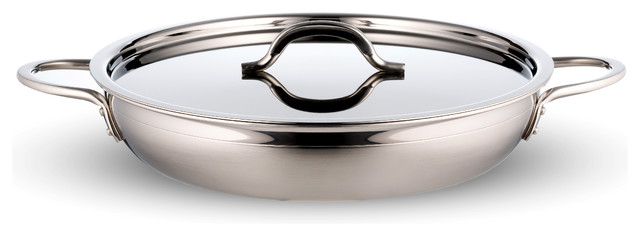 Country French Pan With Cover And Double Handle, 2 Tone Stainless Steel Saute.