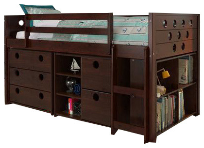 Loft Bed With Storage, Bookshelves, And Dresser In One.