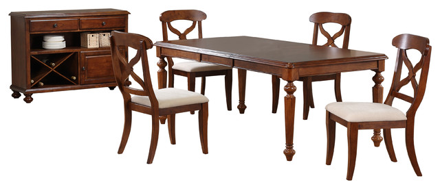 6 Piece Andrews Butterfly Leaf Dining Table Set With Server