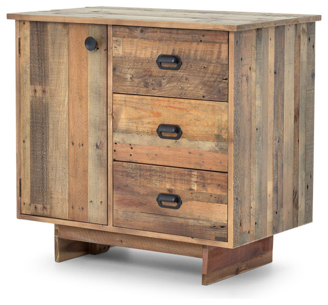 hunter rustic lodge reclaimed wood 3 drawer sideboard rustic buffets and sideboards by. Black Bedroom Furniture Sets. Home Design Ideas