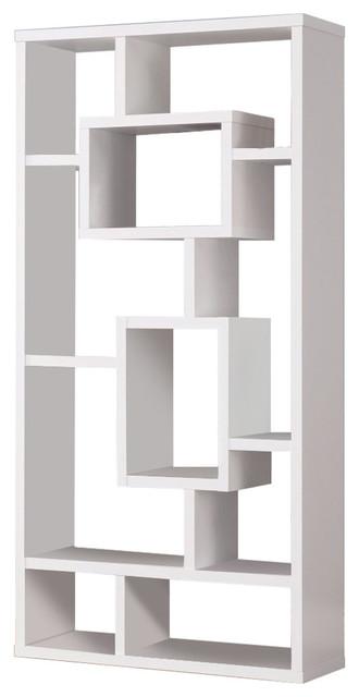 Geometric Cubed Rectangular Bookcase, White.