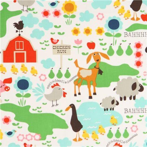 white farm animal fabric Michael Miller Farm Life