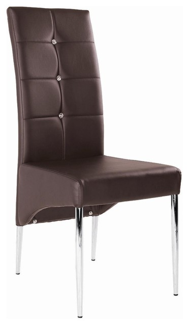 Modern Leather Dining Chair With Chrome Legs, Brown ...