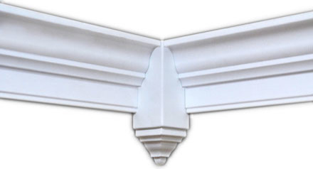 "Crown Molding Corner Blocks, 4 Pack, Smooth White Finish, 6""."