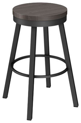 Stylish Backless Swivel Stool With Wood Seat Industrial