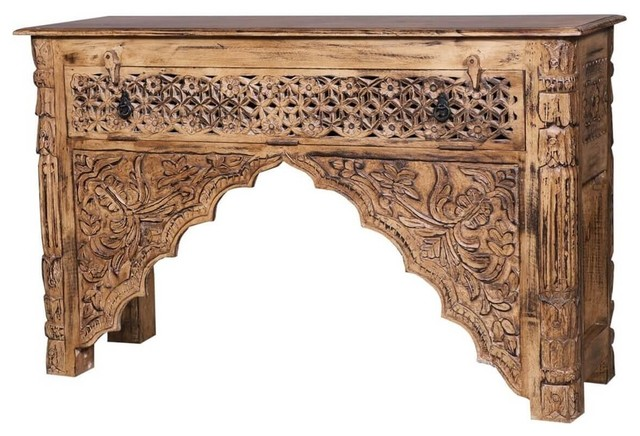 Traditional Hand Carved Console Table