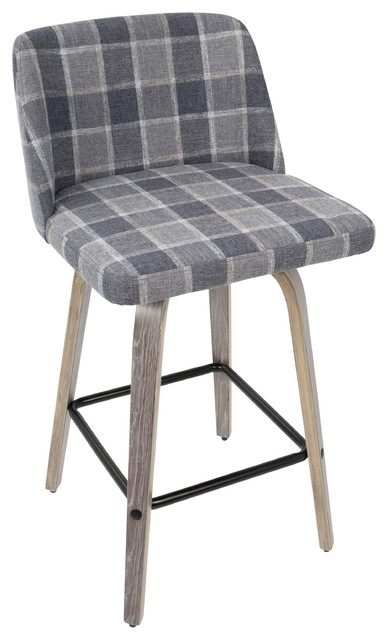 Toriano Mid Century Modern Counter Stool Light Gray Wood And Blue Plaid