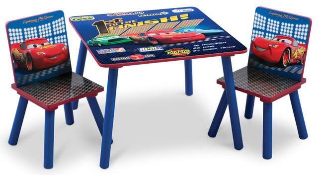 Blue Cozy Durable Frame Safe Boys Little Children Kids Cars Desk Table  Chair Set Contemporary