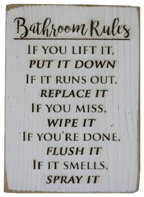 Bathroom Rules Engraved Sign White Farmhouse Novelty Signs By Doug And Cristy Designs