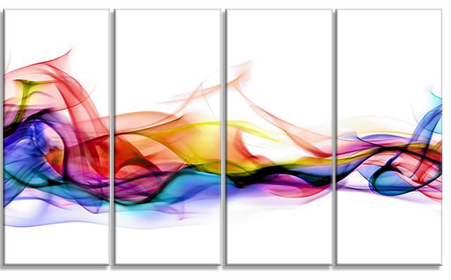 """abstract Smoke"" Contemporary Artwork, 4 Panels, 48""x28""."