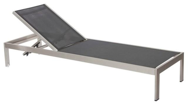 Anodized Aluminum Modern Patio Lounger, Black.