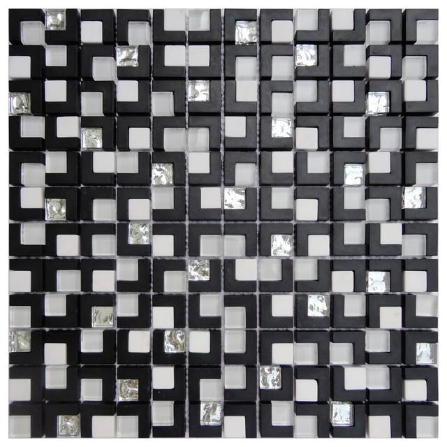 12 x12 galaxy black white silver sparkle mosaic backsplash tile