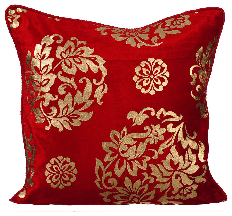 Floral Velvet Red Pillow Covers Gold Charming Contemporary Decorative Pillows By The Homecentric Houzz