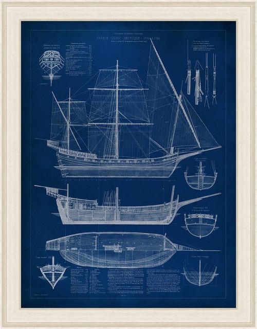 """ship Blueprint I"" Wall Art, 27""x21""."
