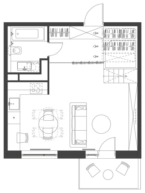 Flat 35 square meter contemporary-interior-elevation