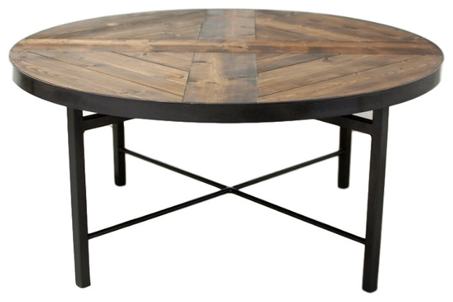 Wellington Round Wood Industrial Coffee Table Industrial Coffee Tables By Southern Sunshine