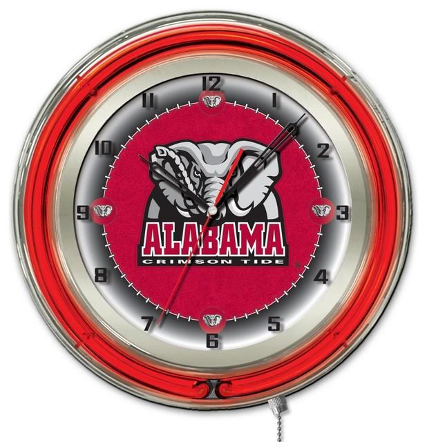 Alabama Double Neon Ring 19 Quot Logo Clock Contemporary