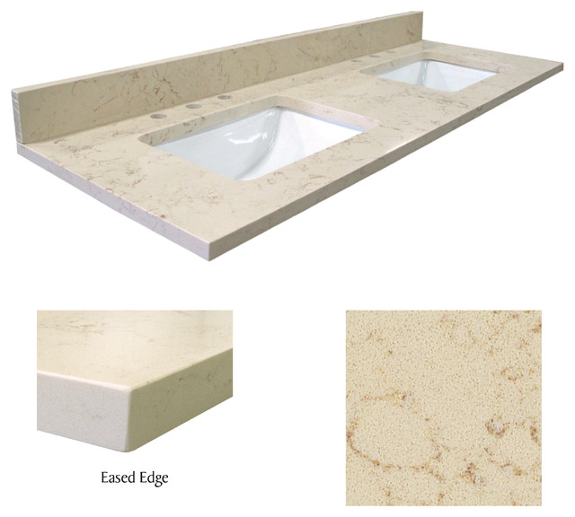 quartz vanity tops for bathrooms menards double bowl beige infinity top contemporary with square sink