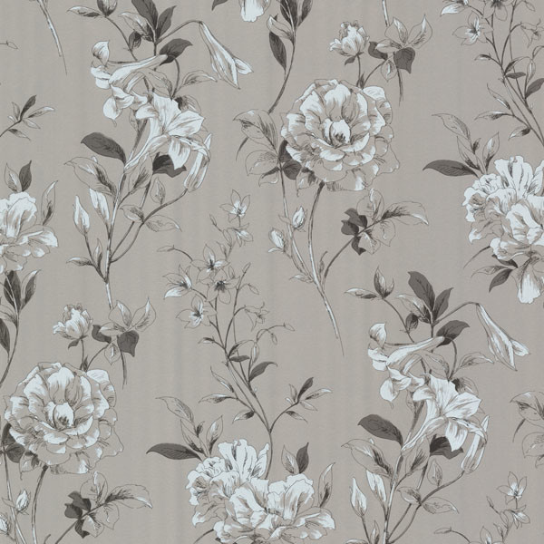 Jolie Silver Floral Toss Wallpaper Contemporary Wallpaper By