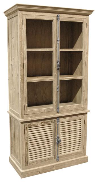 Dijon French Country White Wash Pine Plantation Shutter Doors Bookcase.