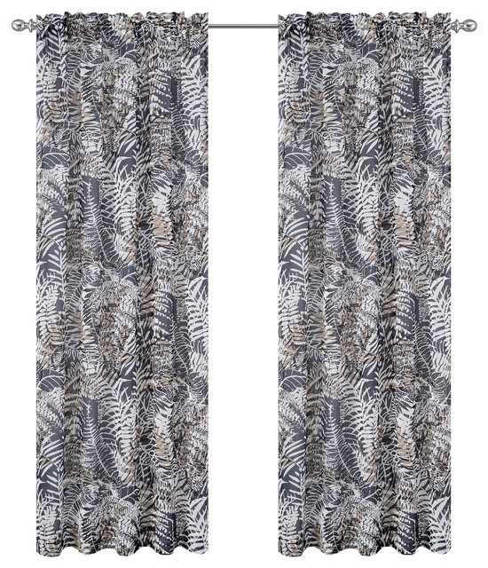 "Urbanest 54""x96"" Palm Set Of 2 Faux Linen Sheer Curtain Panels, Charcoal."