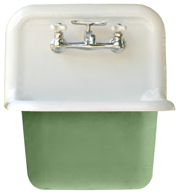 Deep Utility Sink Antique Inspired High Back Cast Iron