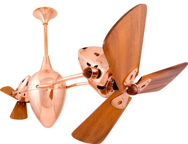 Ar Ruthiane Rotational Ceiling Fan With Mahogany Blades, Polished Copper Finish.