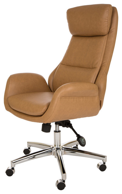 Camel Leatherette Gaslift Adjustable Swivel Office Chair