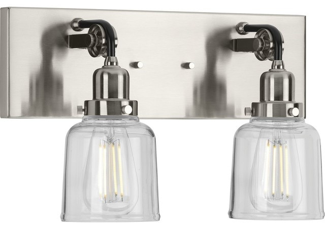 Rushton Collection 2-Light Bath and Vanity, Brushed Nickel