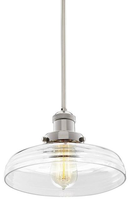 "Mini Farmhouse Pendant Light, 10"" Clear Glass Shade, Sloped Adapter, Nickel."