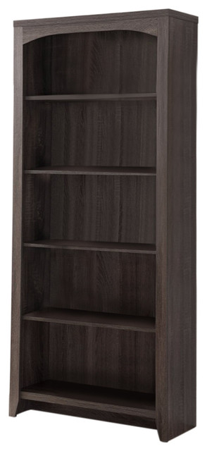 Elegantly Designed 5-Tier Bookcase, Gray