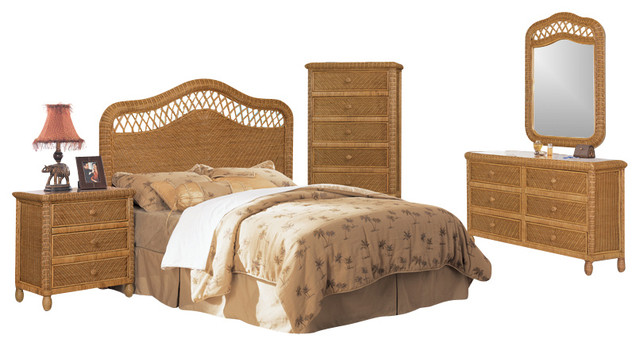 santa cruz wicker rattan 5 piece tropical bedroom