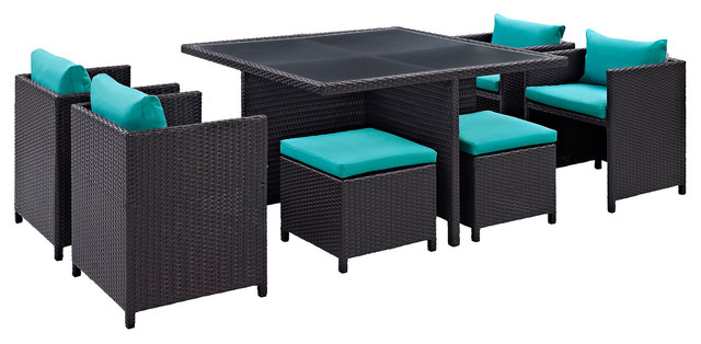Inverse 9-Piece Outdoor Wicker Rattan Dining Set, Espresso Turquoise