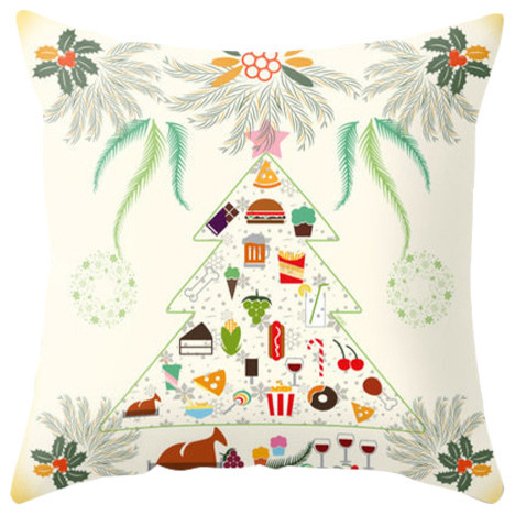 Christmas Tree And Foodies Pillow Cover