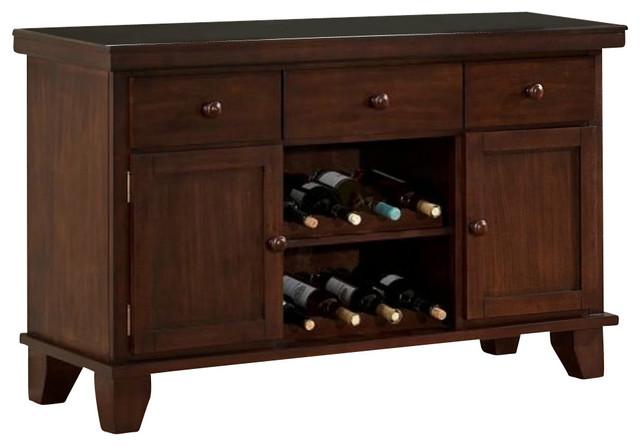 Homelegance Amellia Server With 2 Wine Racks Dark Oak 52