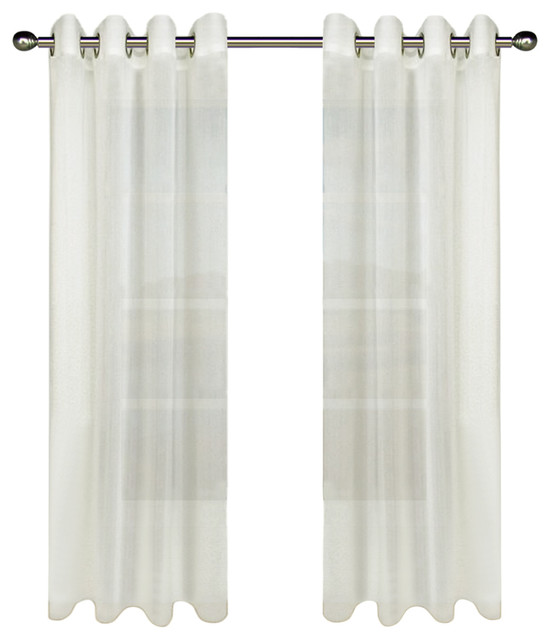 "Tergaline Sheer Curtain Panel With Weighted Hem, White, 54""x84""."