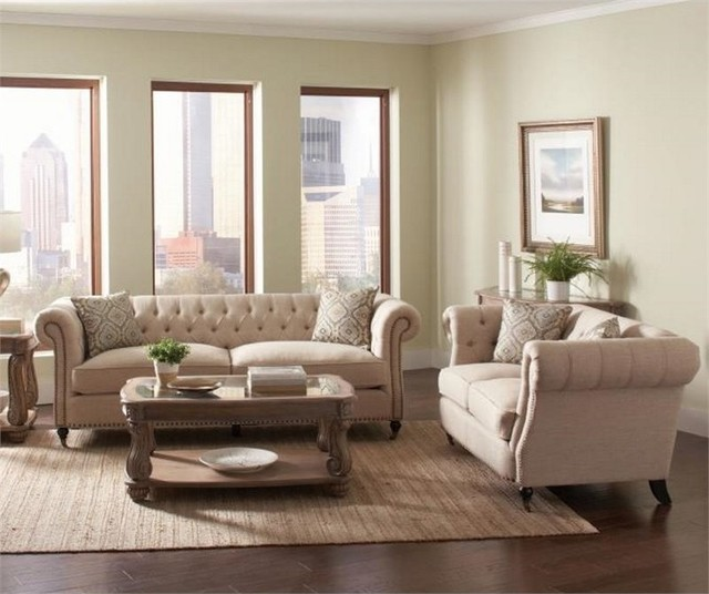 Coaster - Coaster Trivellato 2-Piece Button Tufted Sofa Set ...