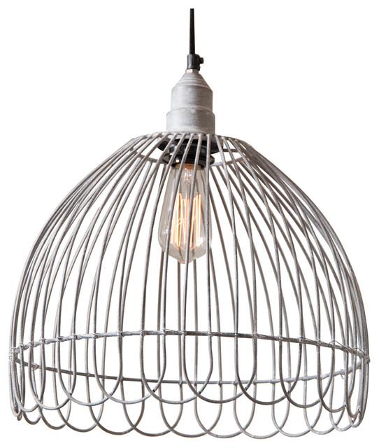 Petal Wire Cage Pendant, Weathered Zinc.