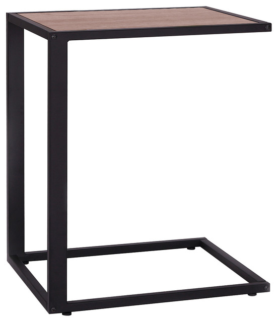 Modern Wooden Top End/snack C Table, Black. -2